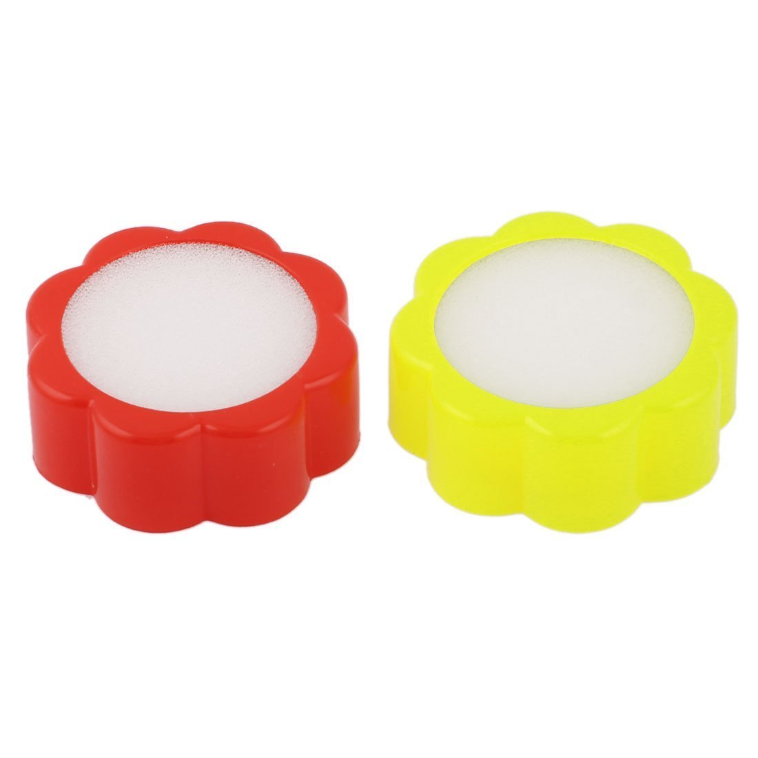 Home Mart Plastic Round Case Office Supply Sponge Finger Wet Tool 2pcs Red&Yellow by Home Mart (Image #1)