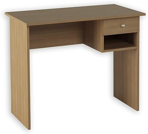 Hogar24 -Mesa Escritorio, Mesa Estudio con cajón y Estante Color Nogal. Medidas: 90 x 73 x 50 Fondo: Amazon.es: Hogar