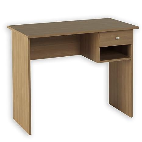 Hogar24 -Mesa Escritorio, Mesa Estudio con cajón y Estante Color Nogal. Medidas: 90 x 73 x 50 Fondo