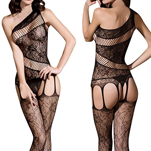 Lisli Women Sexy Fishnet One Shoulder Lace Lingerie Crotchless Tights Bodysuit Bodystocking (Fishnet Shoulder One)