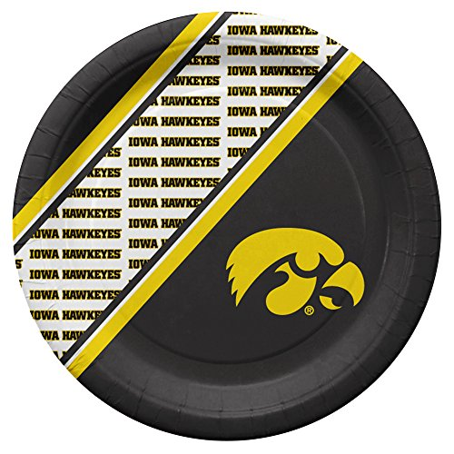NCAA Iowa Hawkeyes Disposable Paper Plates, Pack of 20