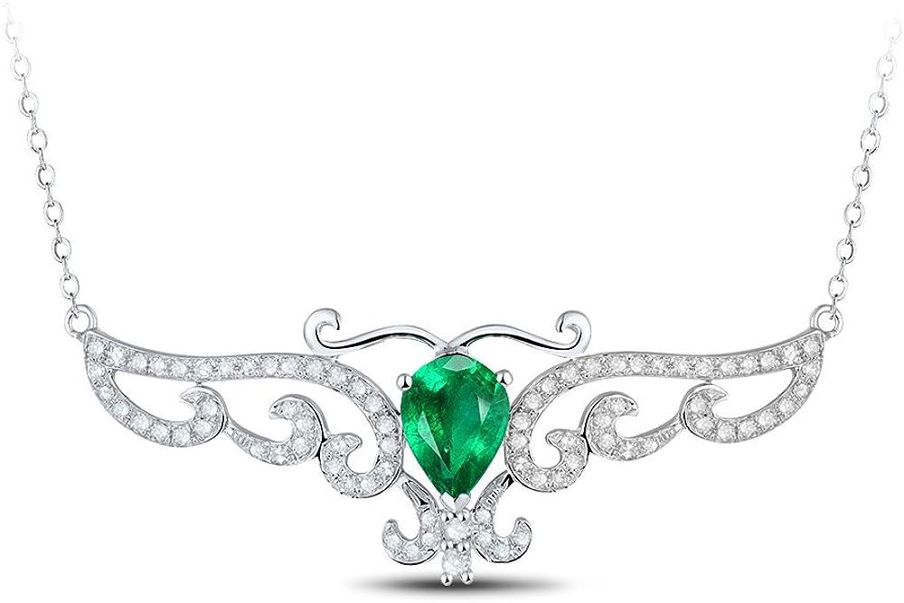 Collar con colgante de oro blanco de 14 quilates con piedra preciosa esmeralda natural con cadena para mujeres y bodas