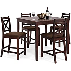 Best Choice Products 5-Piece Wooden Counter Height Square Dining Table Set w/ 4 Chairs and Padded Seats - Espresso