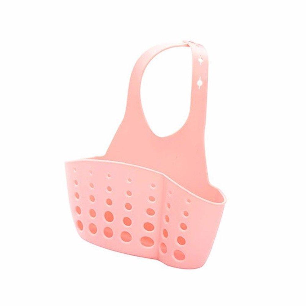 Amrka Sponge Sink Holder, Hanging Plastic Kitchen Gadget Storage Organizer, Baskets Drain Bag Portable (Blue)