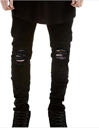 Pantalones Nuevos Hombres Pantalones Vaqueros Pitillo Super Elasticos Con Diseno Desgarrado Y Rasgados Negro Y Azul Amazon Es Ropa Y Accesorios