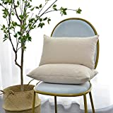 Decorative Pillow Cover - Kevin Textile Decorative Toss Pillow Case Striped Jacquard Cushion Cover for Chair,Cream,12x20-inch (30x50cm), 2 Packs