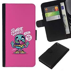 KLONGSHOP // Tirón de la caja Cartera de cuero con ranuras para tarjetas - zombi púrpura dibujo lindo aplicación del juego - HTC DESIRE 816 //