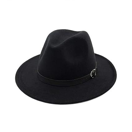 Mujeres Mens Classic Vintage De Lana Sombreros Sombrero De Ala Ancha De  Fieltro Color Superficial Sólido 486fd81c128