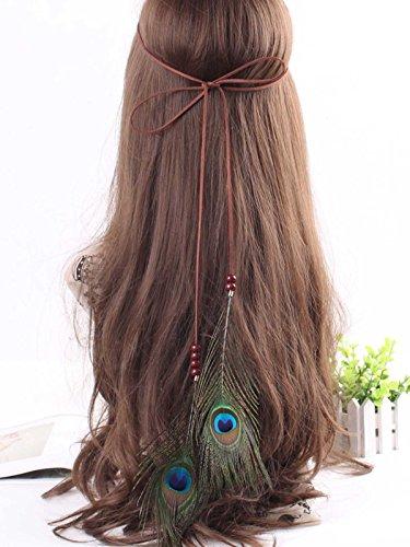 Brazilian Showgirl Costume (LittleB Bohemia Peacock Feather Headband Indian manual headpiece for women and girls.)