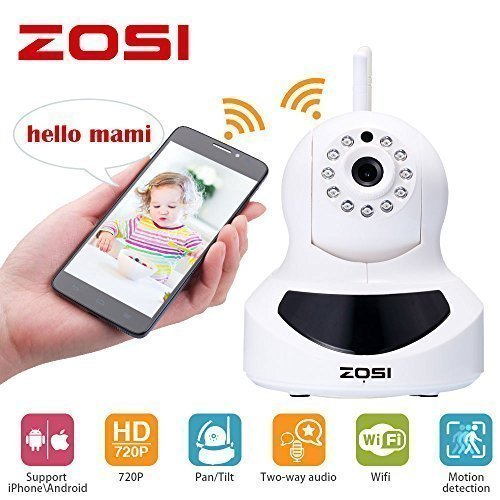 Price comparison product image ZOSI Baby Monitor 720P HD Wi-Fi Wireless Network Baby Video Security IP Camera with QR Code Scan for iPhone / Android, Two-way Audio, Night Vision, 360 Rotation P / T Control, Motion Detection Alert
