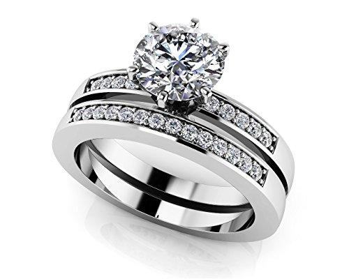 Or blanc 14K Vingt cinq heures par jour de mariage Ensemble