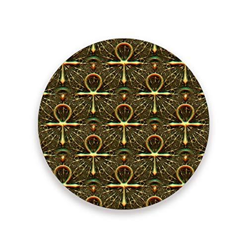 - Ankh Egyptian Symbol Ceramic Coasters for Drinks,Round 4 Piece Coaster Set