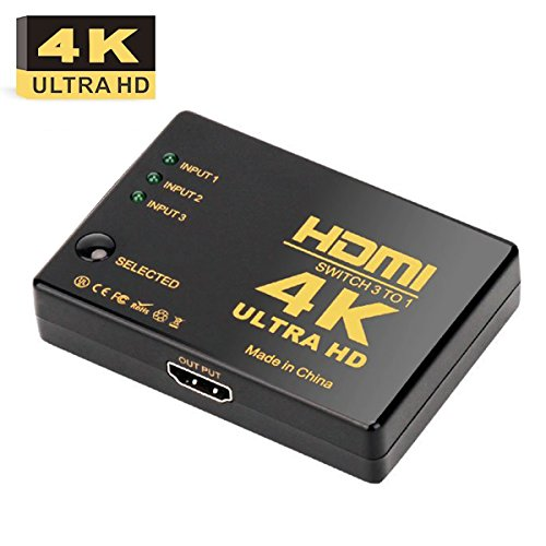 HDMI Switch 4K, AMALINK Ultra HD 4K HDMI Switcher Splitter 3 x 1 for HD-DVD/Sky-STB/ PS3/ Xbox36, Black (4 in 1)
