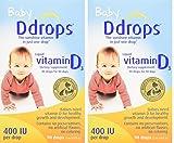 Ddrops PDxvUC Baby 400 IU, Vitamin D, 90 drops 2.5mL, 2 Pack
