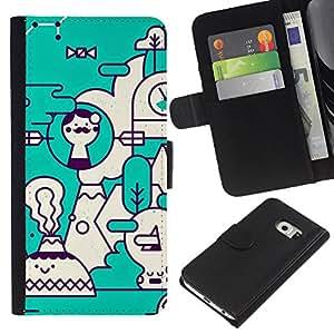 WINCASE ( No Para Normal S6 ) Cuadro Funda Voltear Cuero Ranura Tarjetas TPU Carcasas Protectora Cover Case Para Samsung Galaxy S6 EDGE - arte verde azulado futurista blanco