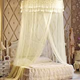WP Ceiling Mosquito Nets Ceiling Princess Dome Book Double Bed With 1.8 M Bed , beige , 1.8m (6 feet) bed