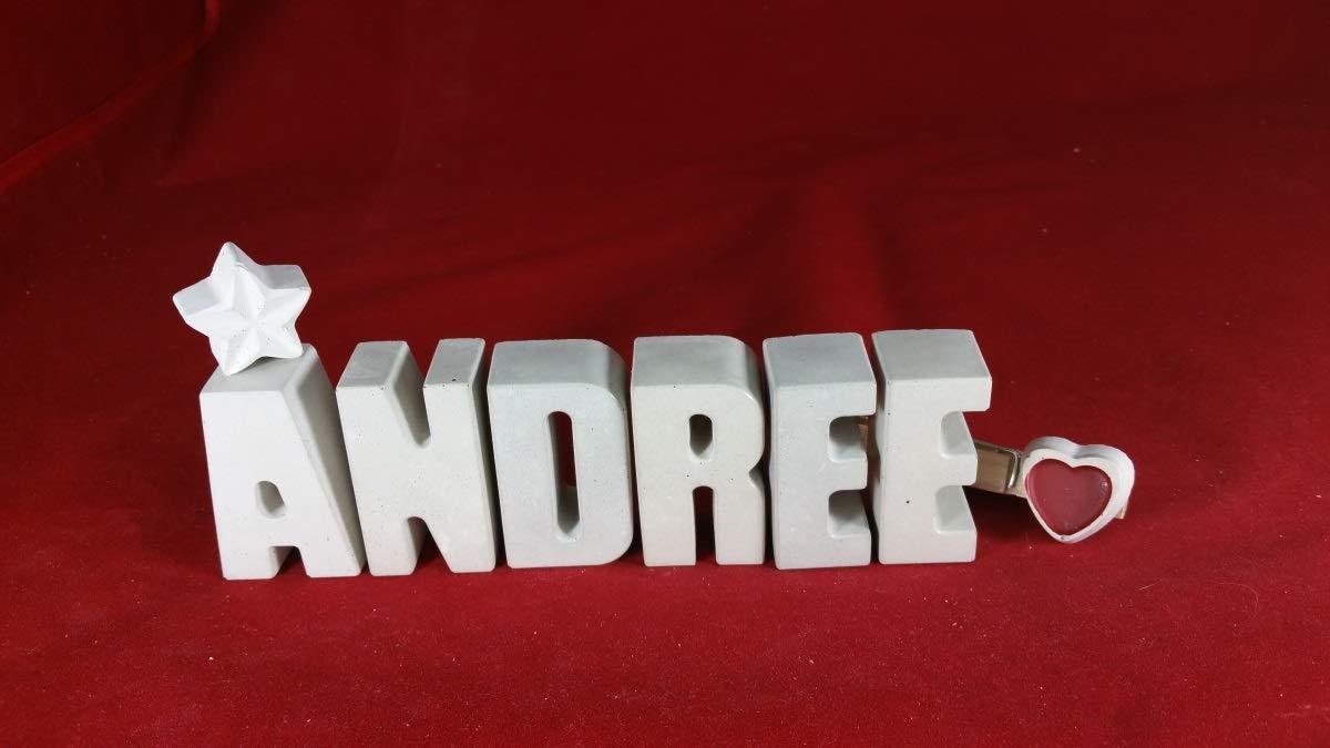 Beton, Steinguss Buchstaben 3D Deko Namen ANDREE mit Stern und Herzklammer als Geschenk verpackt! Ein ausgefallenes Geschenk zur Geburt, Taufe, Geburtstag, Namenstag oder auch zu anderen Anlä ssen.