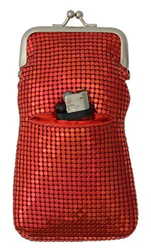 (New Design Sequin Cigarette Soft Mesh 100s 120 S Cigarette Case with Lighter Pocket By Marshal (Red))