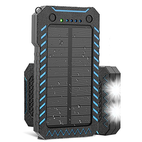 Solar Charger, X-Dragon 15000mAh Power Bank Portable Dustproof Shockproof Dual USB Solar Panel Battery Charger with Dual Super Bright LED Light for iPhone, Samsung Galaxy and More-Blue
