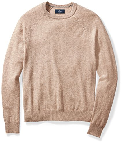 BUTTONED DOWN Men's Cashmere Crewneck Sweater, Toast, Large