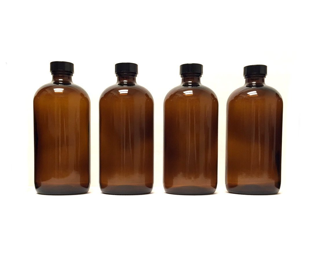 Grand Parfums 8 oz Amber Quality Glass Boston Round, Use for Essential Oils, Aromatherapy, DIY, Laboratory Usage, UV Protected, 240ml, Black Screw Caps, (4-Pack)