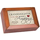 Cottage Garden Granddaughter You Are Amazing Heart Woodgrain Finish Petite Keepsake Jewelry Box