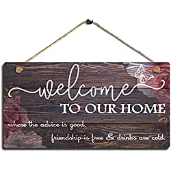 "SAC SMARTEN ARTS Vintage Home Decor Sign Welcome to Our Home Wall Art Sign-Where The Advice is Good, Friendship is Free and Drinks are Cold Wall Hanging Sign Size 11.5"" x 6"""