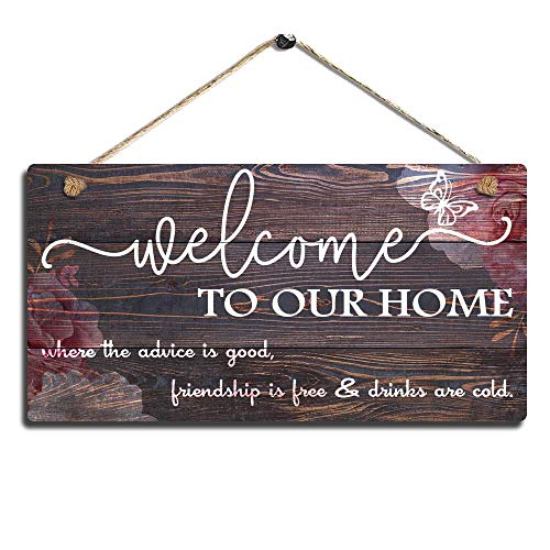 SmartenArts Vintage Home Decor Sign Welcome to Our Home Wall Art Sign-Where The Advice is Good, Friendship is Free and Drinks are Cold Wall Hanging Sign Size 11.5