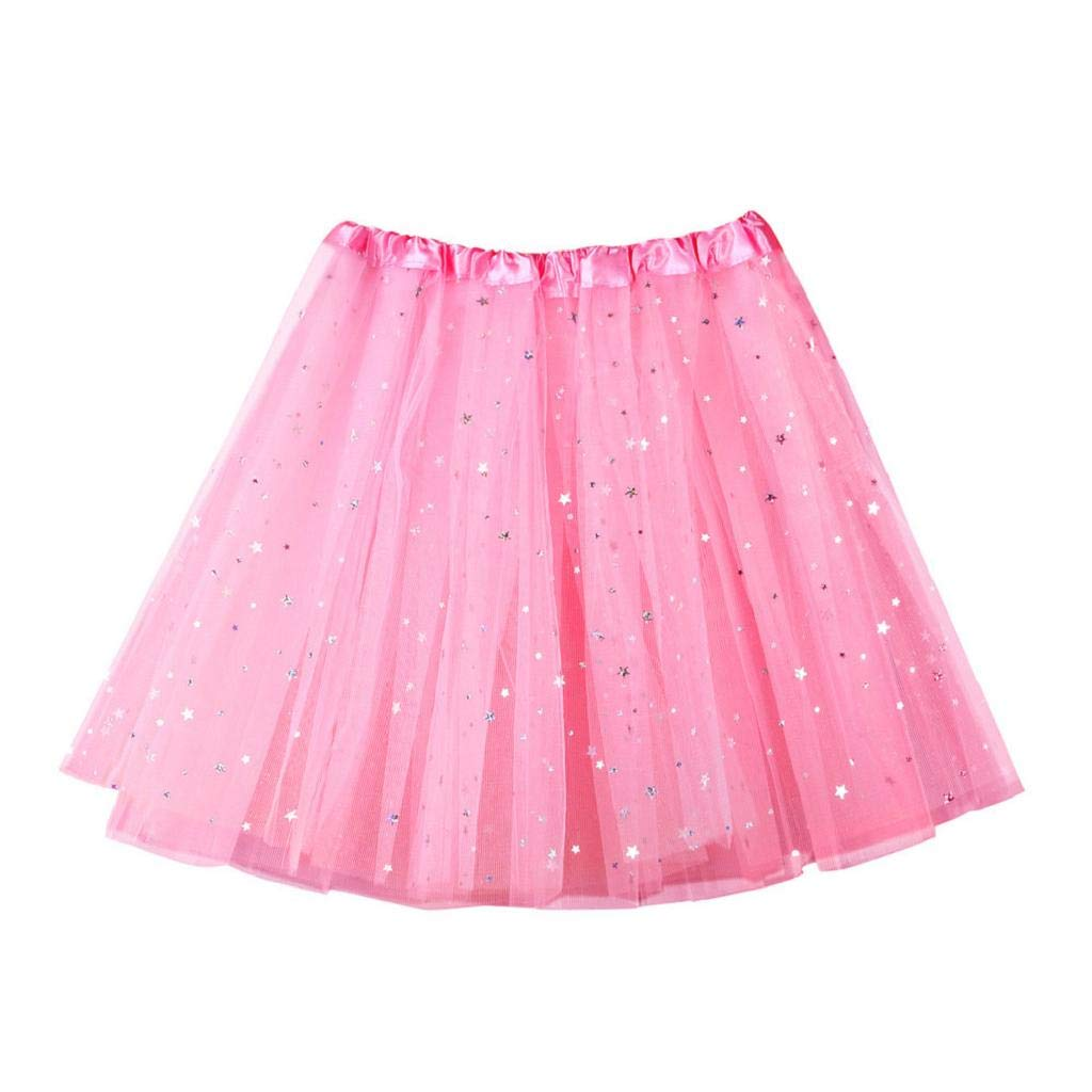 MISYAA Womens Skirts Only Left Sequin Tutu Skirts Ballet Tulle Skirts Multi-Ply Wedding Banquet Mesh Skirts Pink