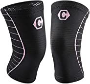CAMBIVO Knee Brace, 2 Pack Compression Knee Sleeves Knee Support Pads for Men & Women, Fit for Running, Jo