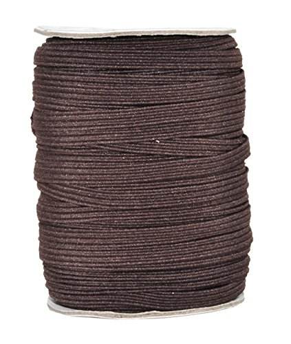 Mandala Crafts Colored Polyester Rubber Braided Flat Elastic Stretch Band Cord Spool Roll for Sewing Clothes Waistbands (1/4 inch 6mm 50 Yards, Brown)