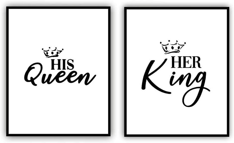 "Modern Calligraphy Art Painting Set of 2 (8""X10"" Canvas Picture), His Queen Her King Painting Motivational Phrases Wall Art Print Poster for Bedroom Wall or Room Home Decor,No Frame"