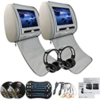 Eincar Gray Pair of Headrest DVD Player Monitors 9 Inch LCD DVD USB SD VIDEO Monitors Region Free Car Dvd Headrests Player+ 2 Wireless Remote Control+ 2 Infrared Headphones
