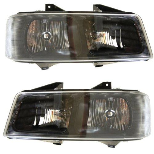 Chevy Express & GMC Savana Van (1500, 2500, 3500, 4500) Composite Headlight Headlamp Front Head Light Lamp Pair Set Right Passenger And Left Driver Side (03 2003 04 2004 05 2005 06 2006 07 2007 08 2008 09 2009 10 2010 11 2011 12 2012 13 2013) (Chevy Van Headlight)