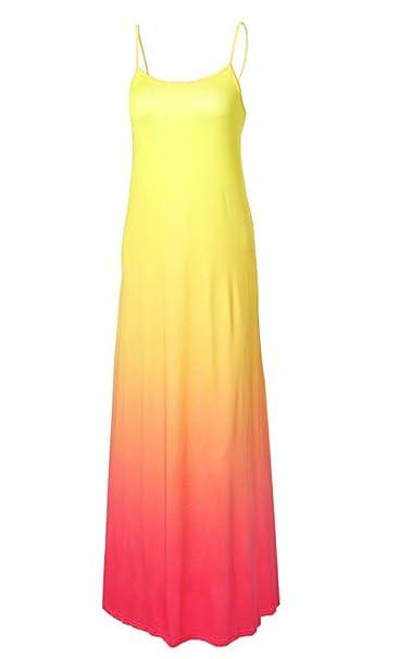 DaBag Ropa Mujer Vestido Bobo Colores de degradado Verano de Playa Fiesta Noche de Tirantes Largos