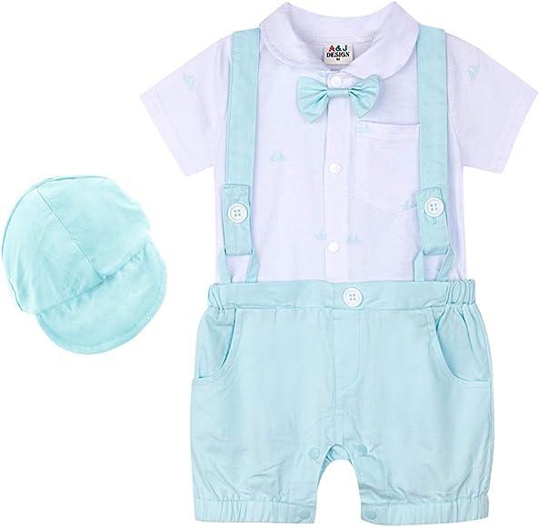 3-24 Months mintgreen Baby Boys Formal Suit Infant Gentleman Bodysuit Short Sleeve Romper