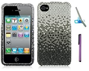Bloutina Premium Apple Iphone 4, 4s Phone Protector Hard Cover Case Silver Black Diamond Rhinestone With Purple Touch Screen...
