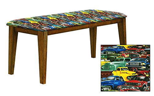 "Oak Finish 19"" Tall Universal Bench Featuring a Padded Seat Cushion With Your Favorite Novelty Themed Fabric (Ford Trucks) (Banquette Cushion)"