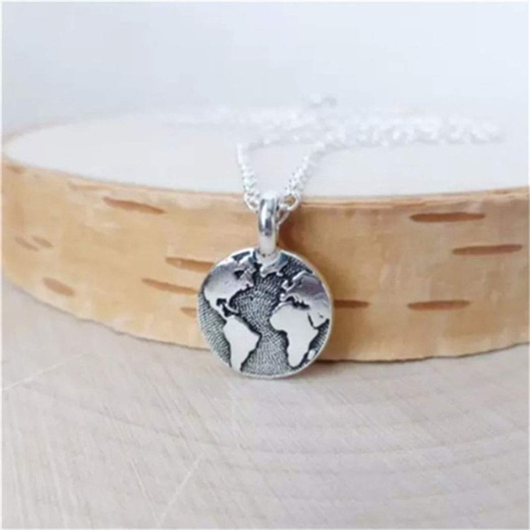 Barogirl World Map Necklace Pendant Dainty Globetrotter Bar Necklace Jewelry for Women and Girls (Gold A) by Barogirl (Image #2)