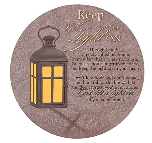 Religious Stone (Keep the Light On Lantern 10 x 10 Inch Resin Stone Indoor Outdoor Garden Stepping Stone)