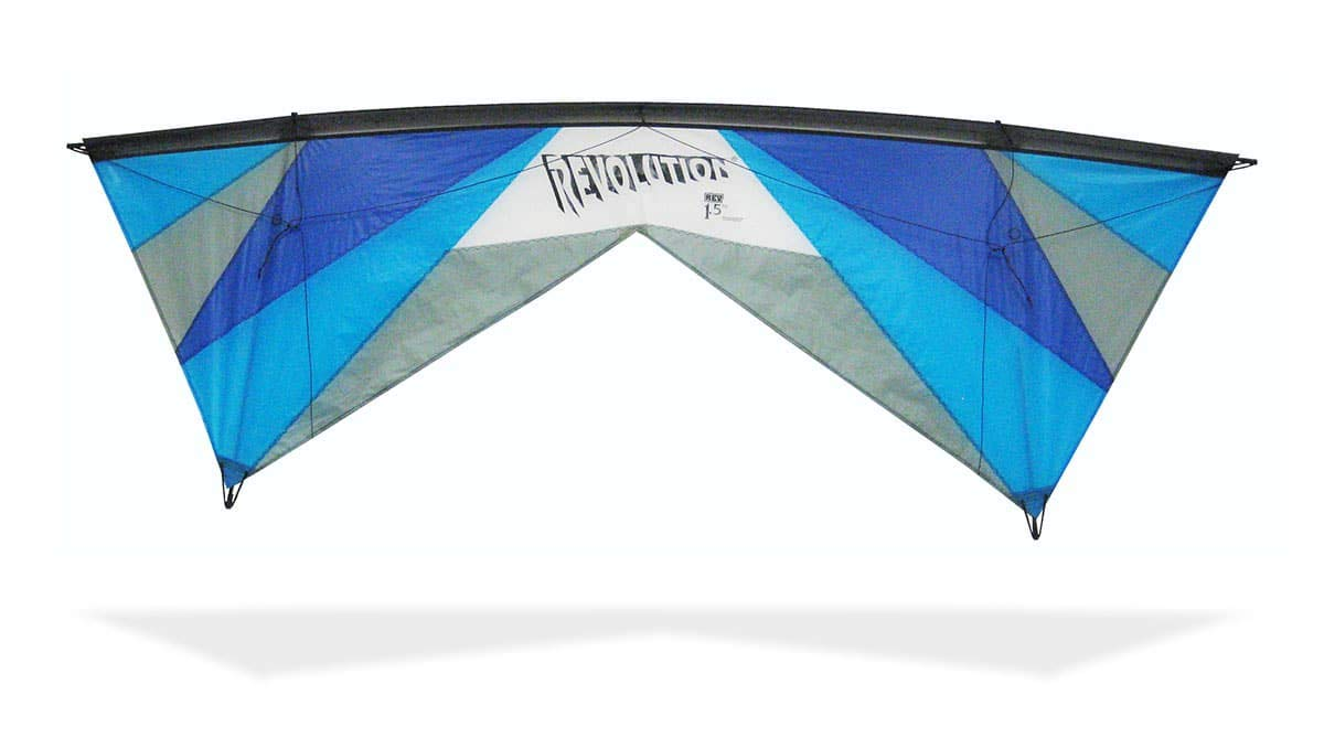Revolution Kites EXP Sport Wing Kite with Reflex Technology (Handles / Line Set / Instruction Manual / 1 Spare Shaft) (Blues / Grey) by Revolution