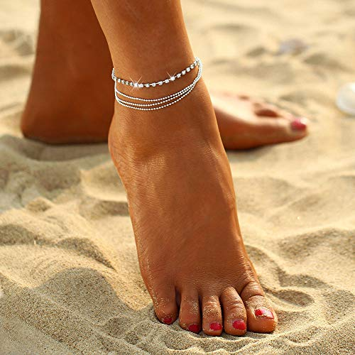 Artmiss Boho Women Rhinestones Anklet Bracelet Beaded Woven Silver Ankle Chain Double Barefoot Beach Anklet for Teen Girls (Beaded Double Chain)