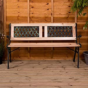 Garden Vida Garden Bench, Twin Cross Style Design 3 Seater Outdoor Furniture Seating Wooden Slats Cast Iron Legs Park…