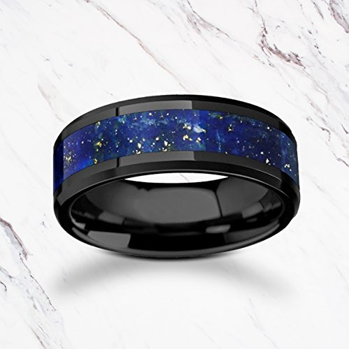 Natural Blue Lapis Inlay Ring - Blue Lapis Lazuli Stone Inlay Black Ceramic Ring with Polished Beveled Edges - 8mm Available - Lifetime Size Exchanges
