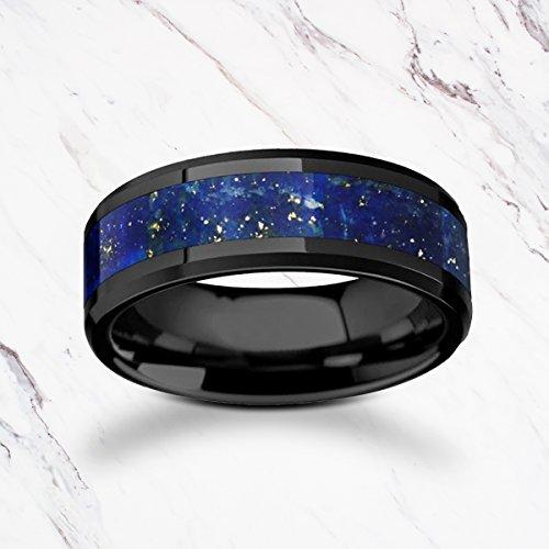 Blue Lapis Lazuli Stone Inlay Black Ceramic Ring with Polished Beveled Edges - 8mm Available - Lifetime Size Exchanges