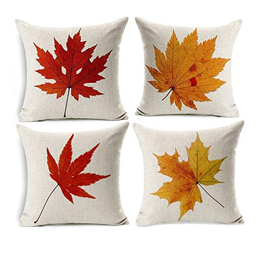 Wonder4 Maple Leaf Throw Pillow Covers Autumn Theme Fall Decorative Pillow Covers Cushion Cases Decor Autumn Leaf Pillow Cases Cotton Linen for Home Sofa Bedding 18x18 inches Set of 4 -