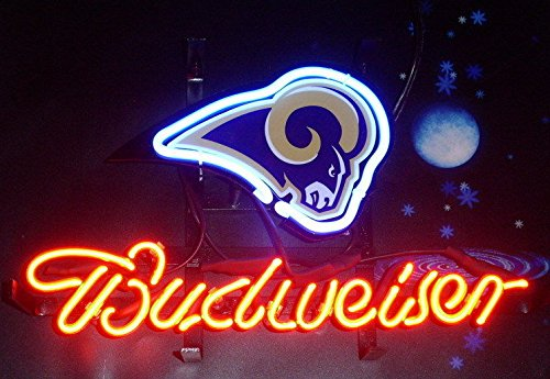 Desung Brand New 14''x10'' B udweiser Sports Team LA-Rams Neon Sign (Various Sizes) Beer Bar Pub Man Cave Glass Neon Light Lamp BW27