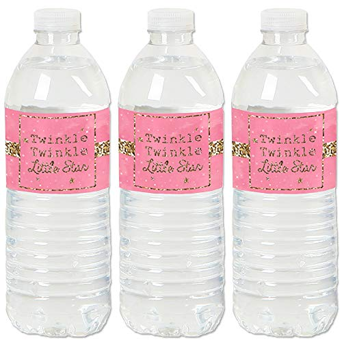 Pink Twinkle Twinkle Little Star - Baby Shower or Birthday Party Water Bottle Sticker Labels - Set of ()