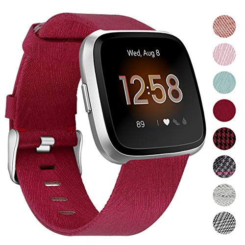 NANW Bands Compatible with Fitbit Versa, Versa Lite Edition Bands Small Large, Woven Fabric Accessories Strap Wristband Replacement Women Men Compatible with Fitbit Versa
