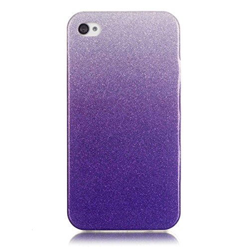 Price comparison product image Moonmini Gradient Color Sparkling Glitter Ultra Slim Fit Soft TPU Phone Back Case Cover for Apple iPhone 4 4s - Purple